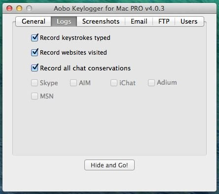 Aobo Mac Keylogger Screenshot