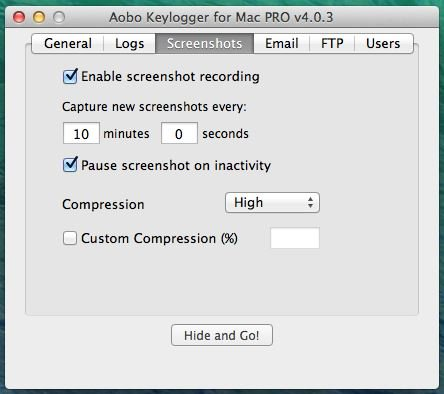 Mac Keylogger - Aobo Mac OS X Key Logger -screenshots