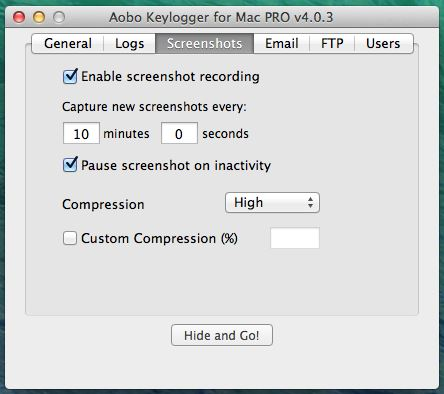 Mac Keylogger - Aobo Mac OS X Key Logger - General Options