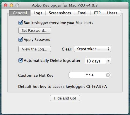 Aobo Keylogger for Mac - General Options
