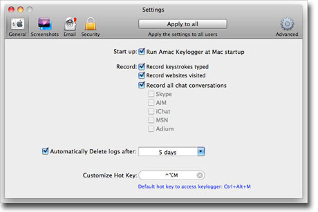 Amac Keylogger for Mac - general settings