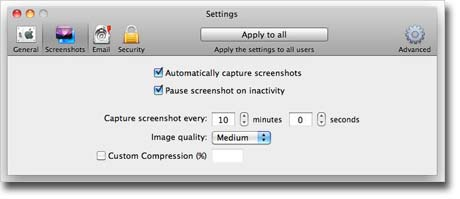 Amac Keylogger – screenshot capturing settings