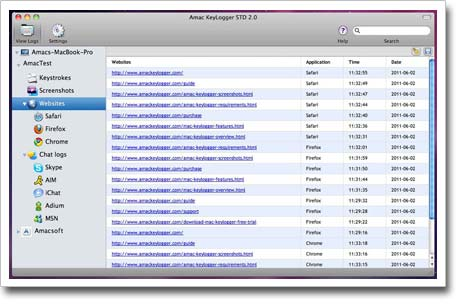 Amac Keylogger for Mac – record websites