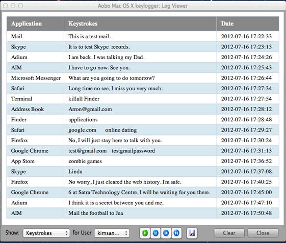 Aobo Mac Keylogger Professional Screenshot